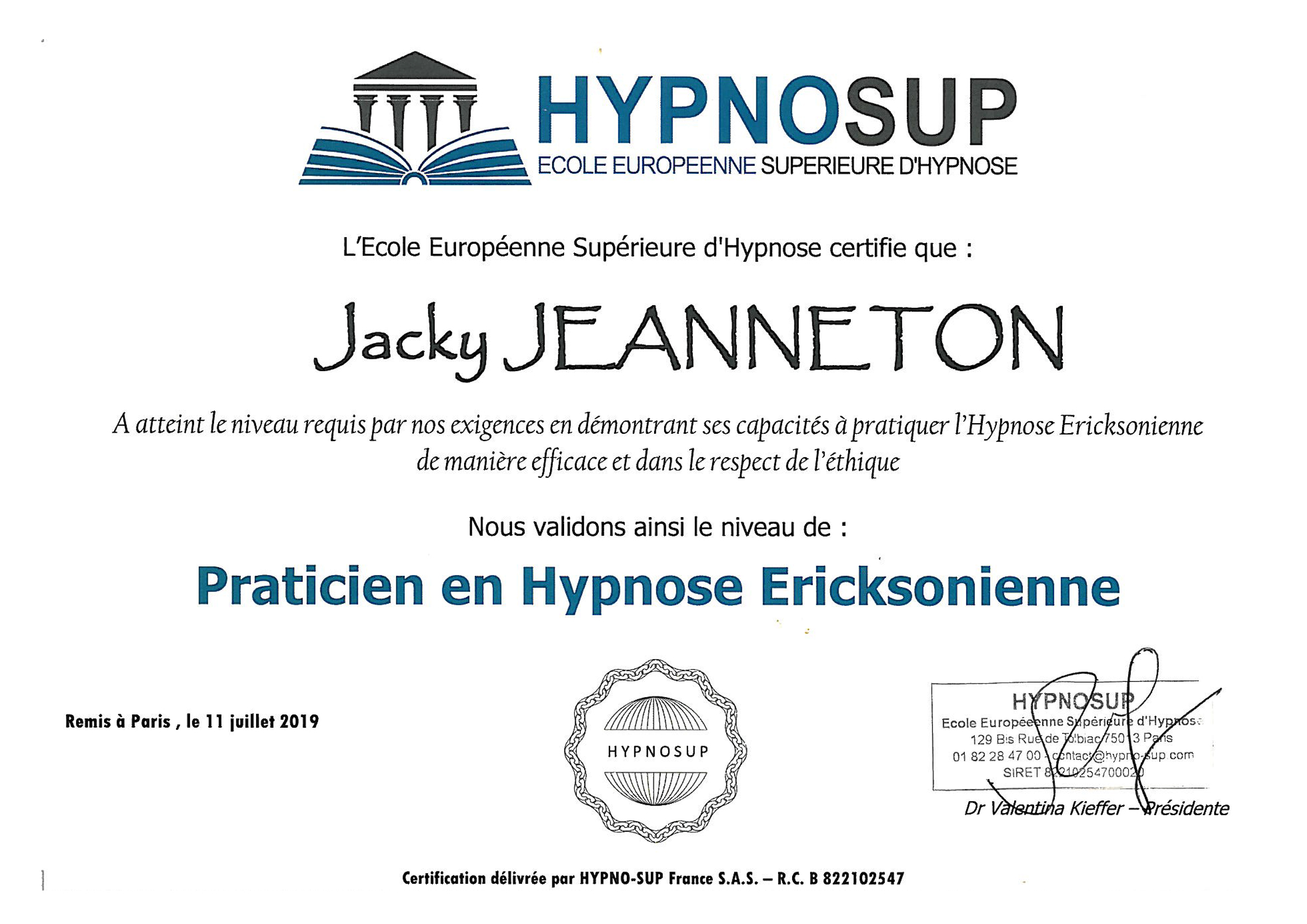 diplome de jacky jeanneton en hypnose