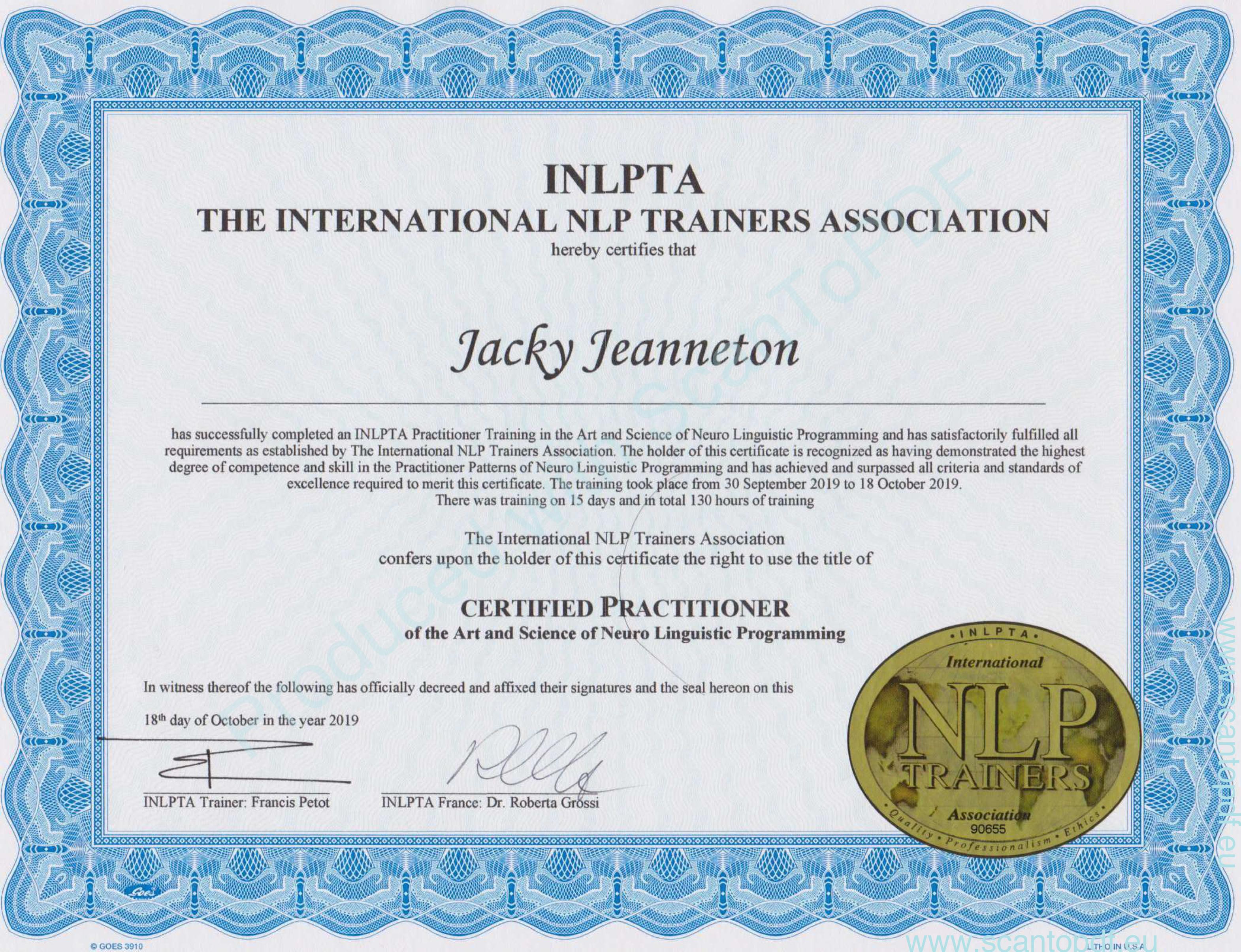 diplome en PNL de Jacky Jeanneton