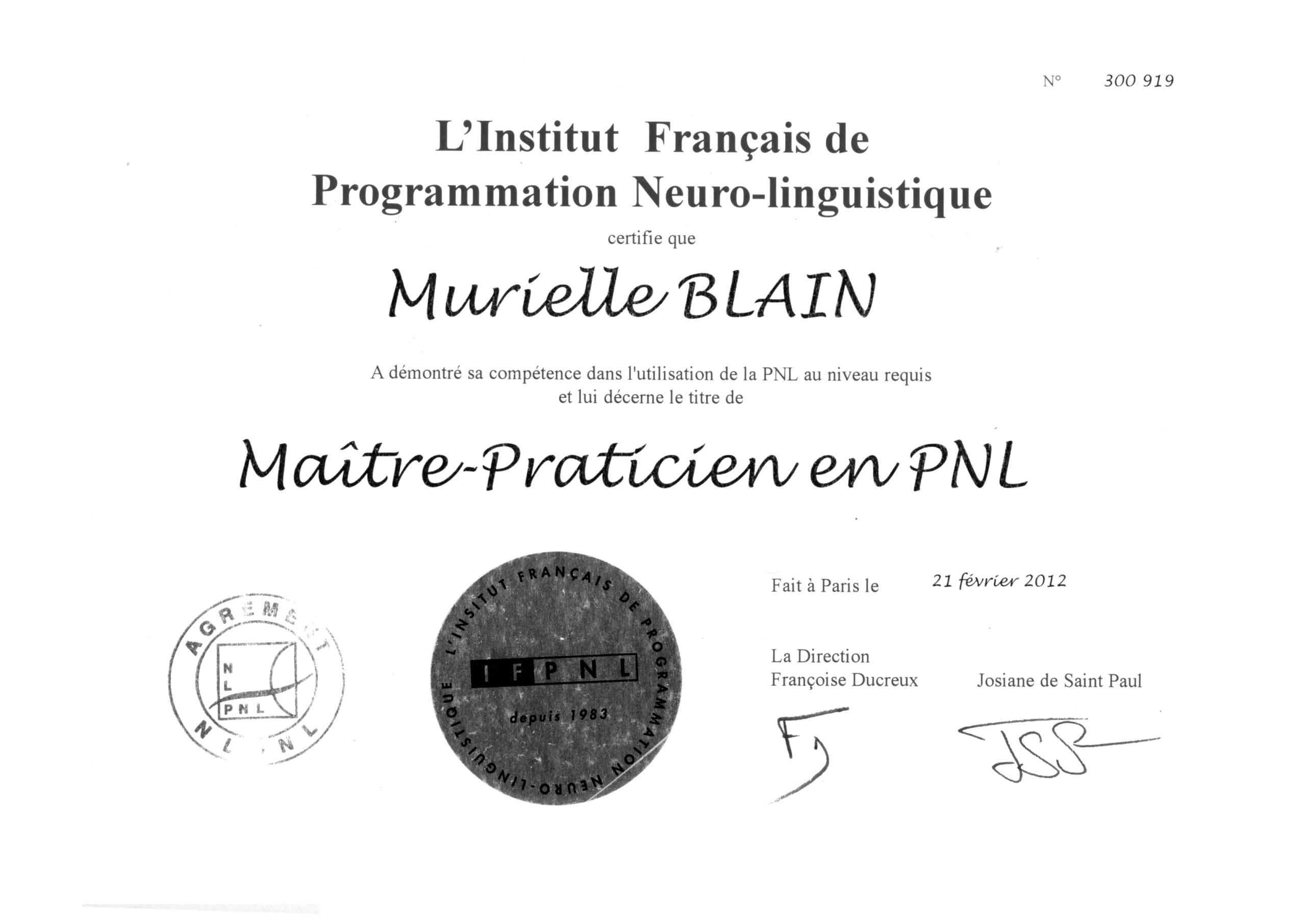 diplome d'hypnothérapeute et Murielle Blain