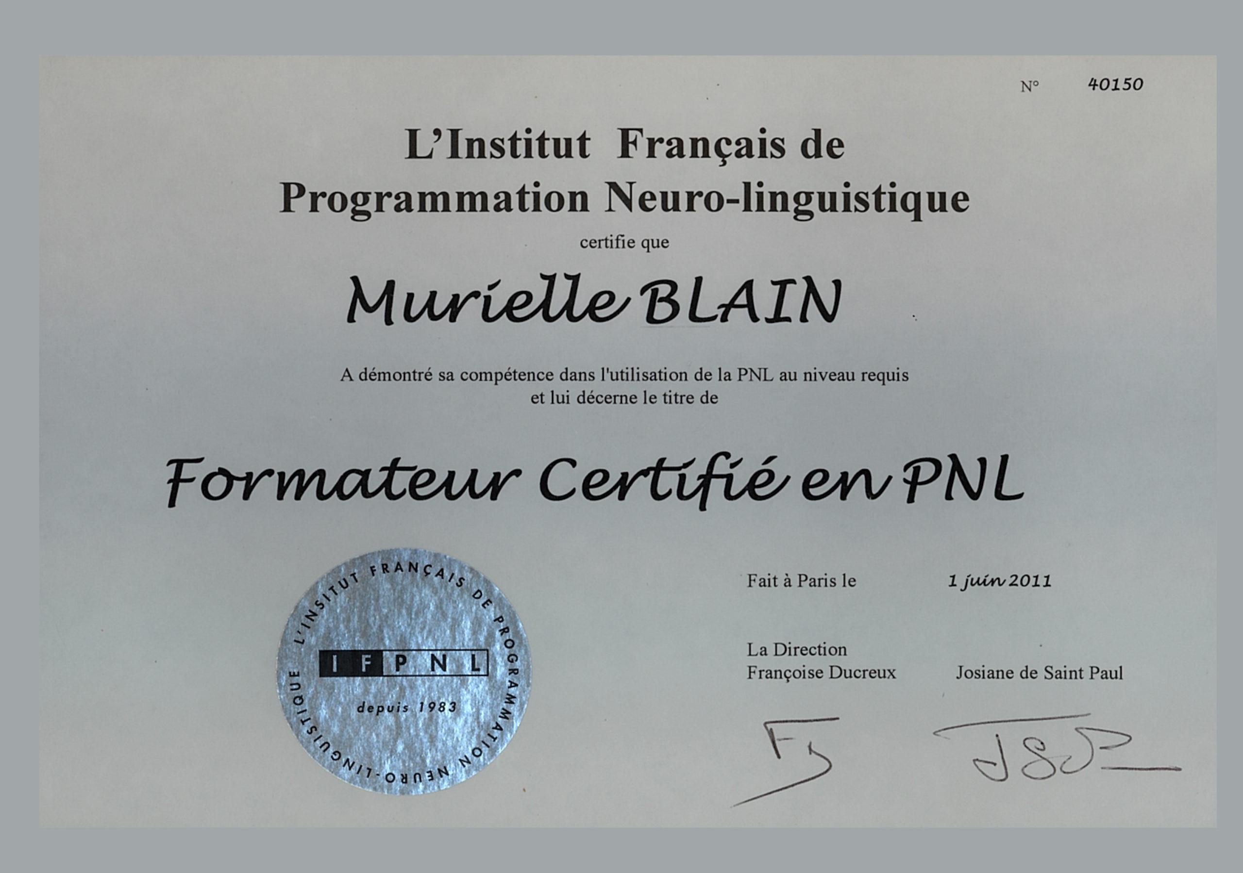 diplome de PNL de Murielle Blain