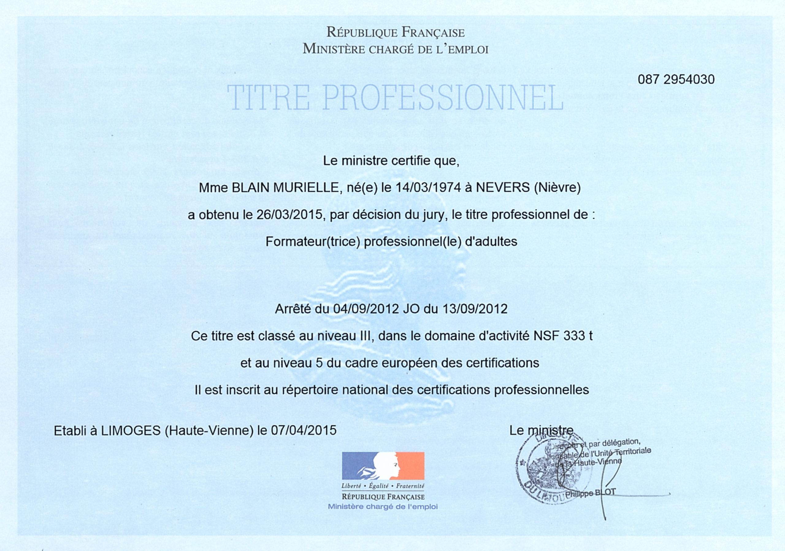 Diplome de Murielle Blain